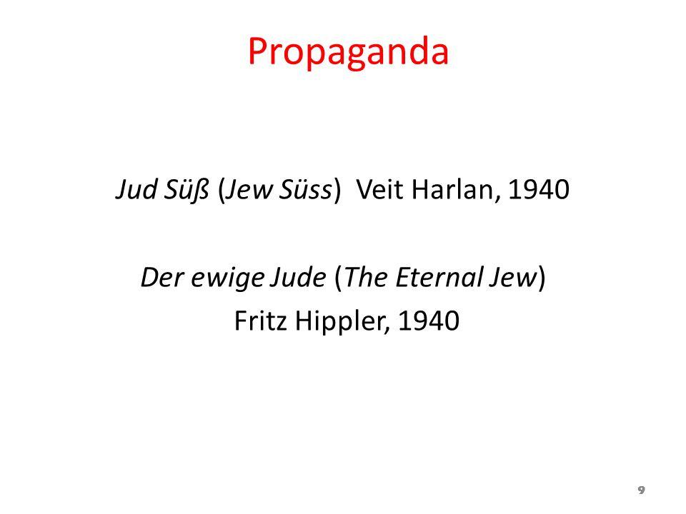 Propaganda Jud Süß (Jew Süss) Veit Harlan, 1940 Der ewige Jude (The Eternal Jew) Fritz Hippler, 1940