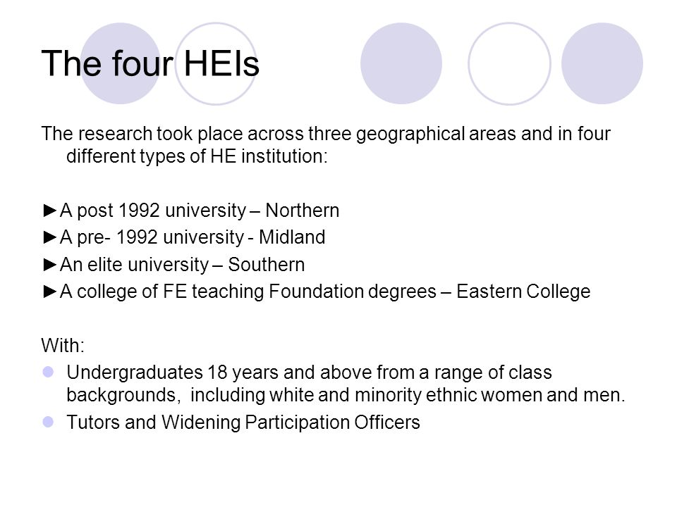 The four HEIs The research took place across three geographical areas and in four different types of HE institution:
