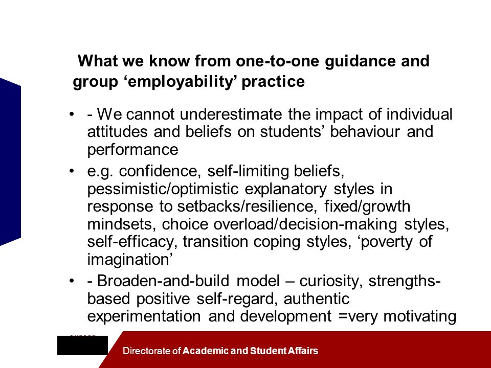 What we know from one-to-one guidance and group 'employability' practice