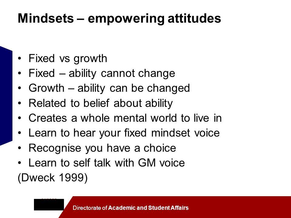 Mindsets – empowering attitudes