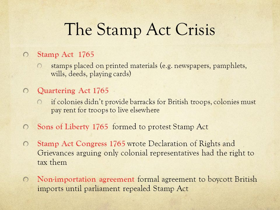 the stamp act crisis Learn about the stamp act of 1765, which was an ill-considered tax by the british  government on the american colonies and one of the factors.