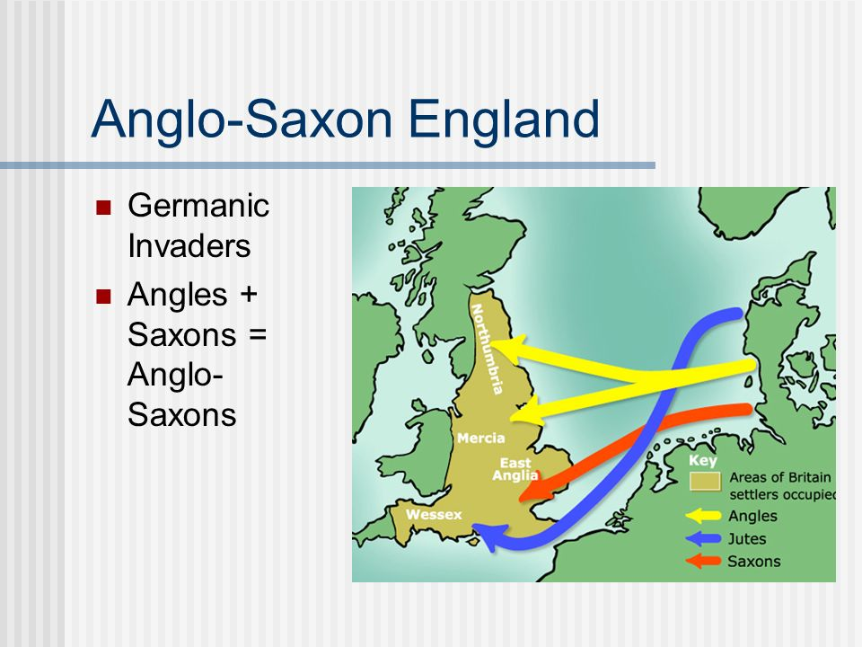 Anglo-Saxon England Germanic Invaders Angles + Saxons = Anglo-Saxons
