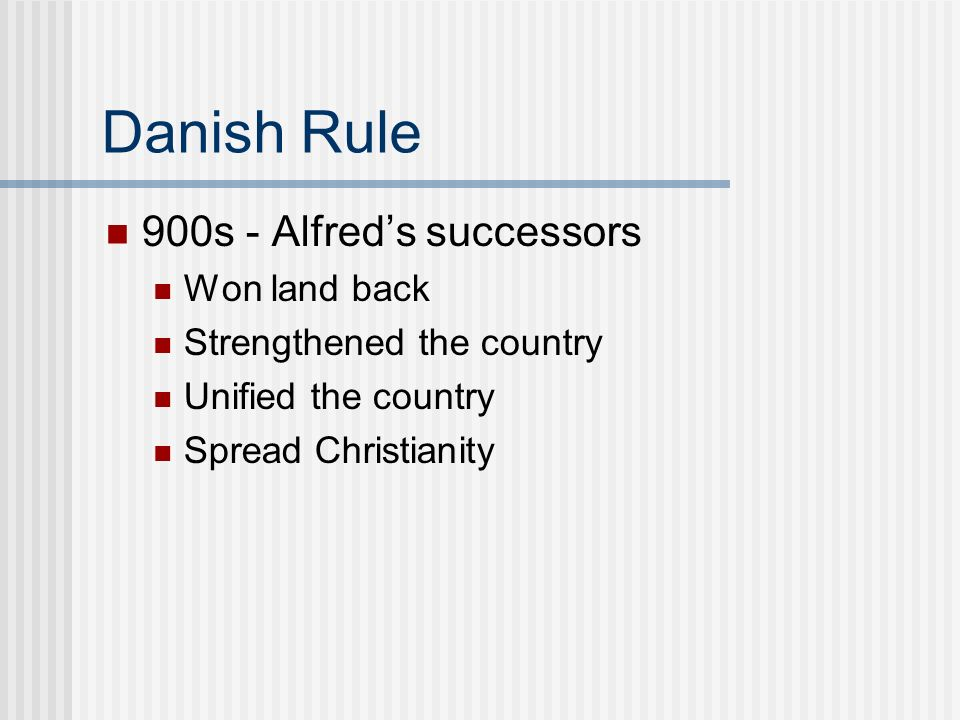 Danish Rule 900s - Alfred's successors Won land back