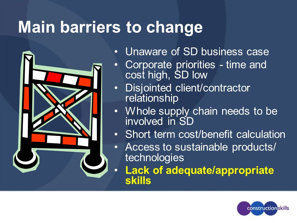 Main barriers to change