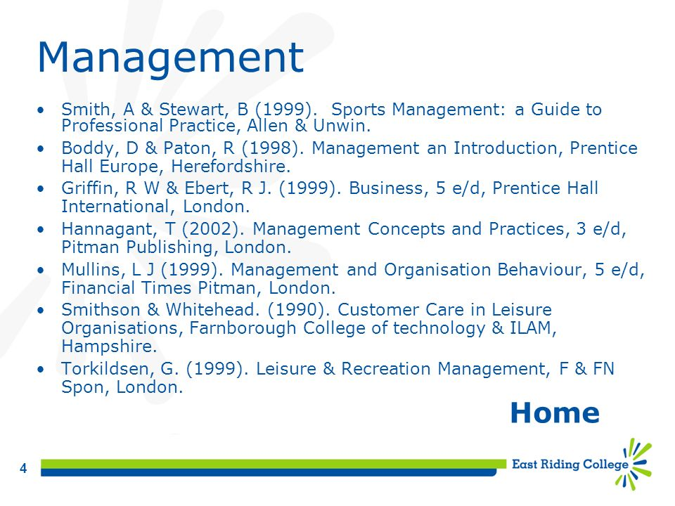 Management Smith, A & Stewart, B (1999). Sports Management: a Guide to Professional Practice, Allen & Unwin.