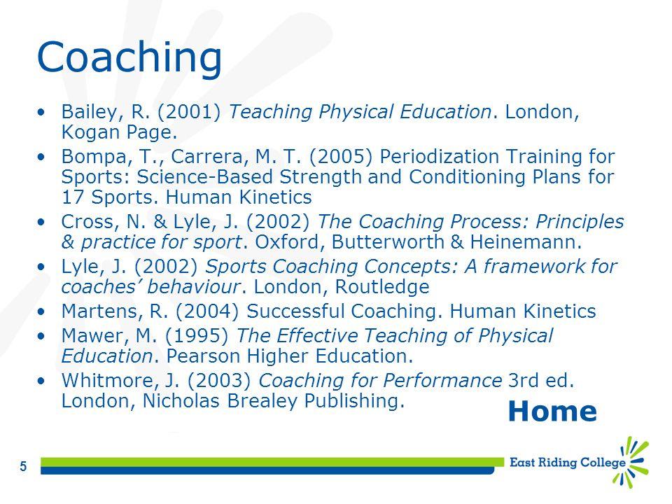 Coaching Bailey, R. (2001) Teaching Physical Education. London, Kogan Page.