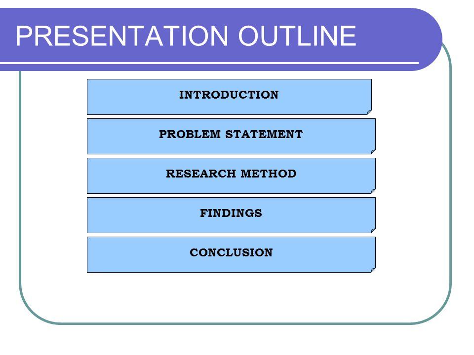 PRESENTATION OUTLINE INTRODUCTION PROBLEM STATEMENT RESEARCH METHOD