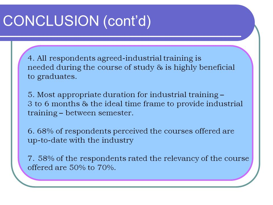 CONCLUSION (cont'd) 4. All respondents agreed-industrial training is