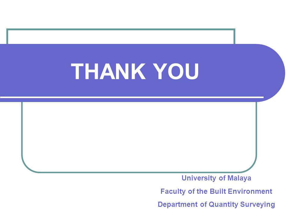 Faculty of the Built Environment Department of Quantity Surveying