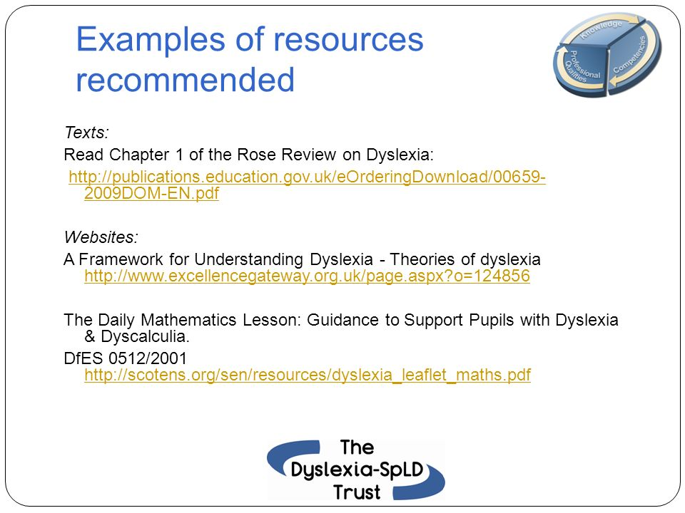 Examples of resources recommended