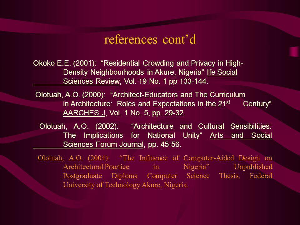 references cont'd