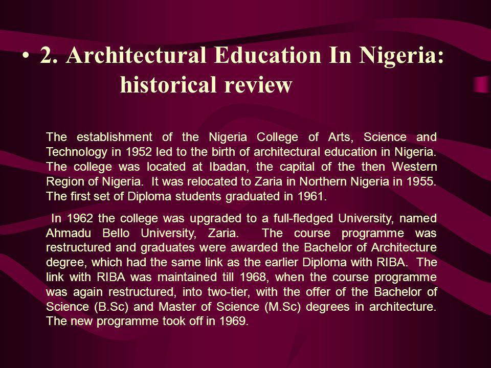 2. Architectural Education In Nigeria: historical review