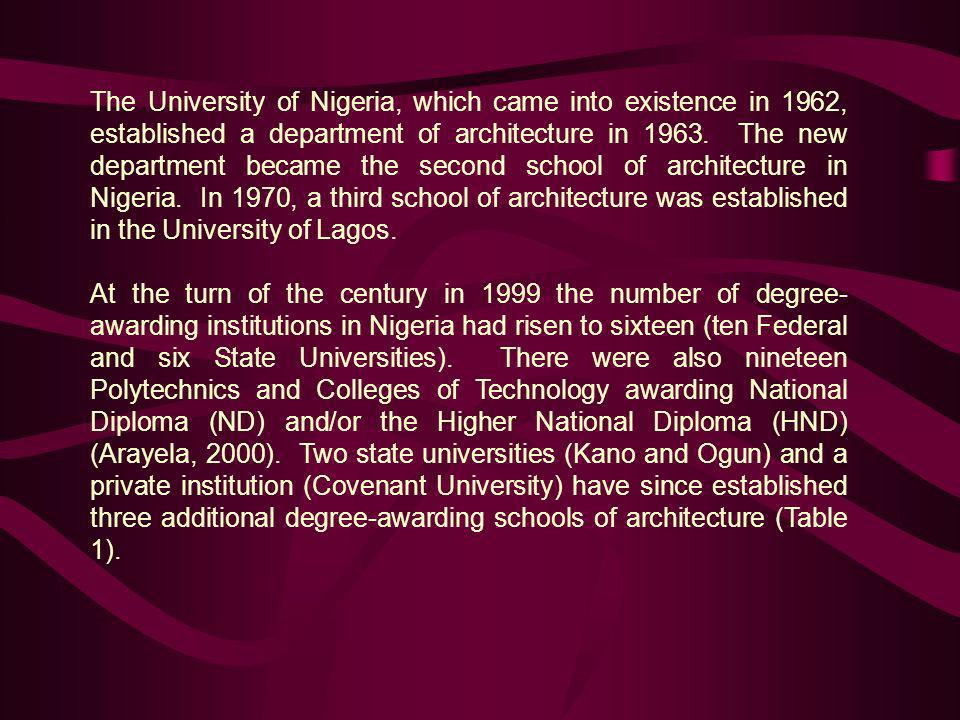 The University of Nigeria, which came into existence in 1962, established a department of architecture in 1963. The new department became the second school of architecture in Nigeria. In 1970, a third school of architecture was established in the University of Lagos.
