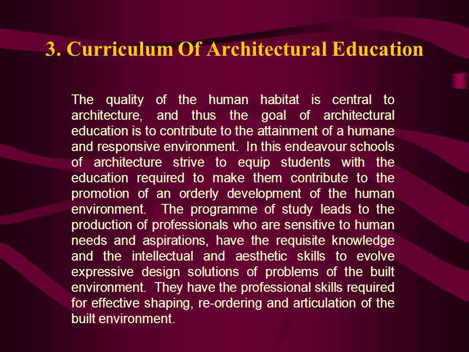 3. Curriculum Of Architectural Education