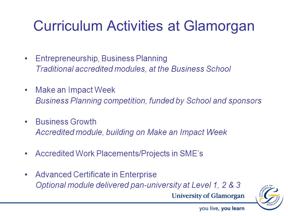 Curriculum Activities at Glamorgan