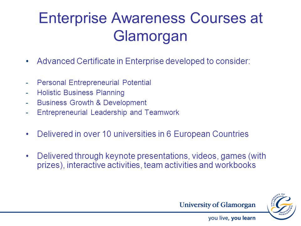 Enterprise Awareness Courses at Glamorgan