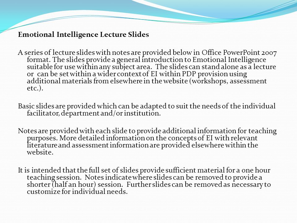 Emotional Intelligence Lecture Slides
