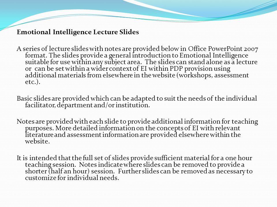 Emotional Intelligence Lecture Slides