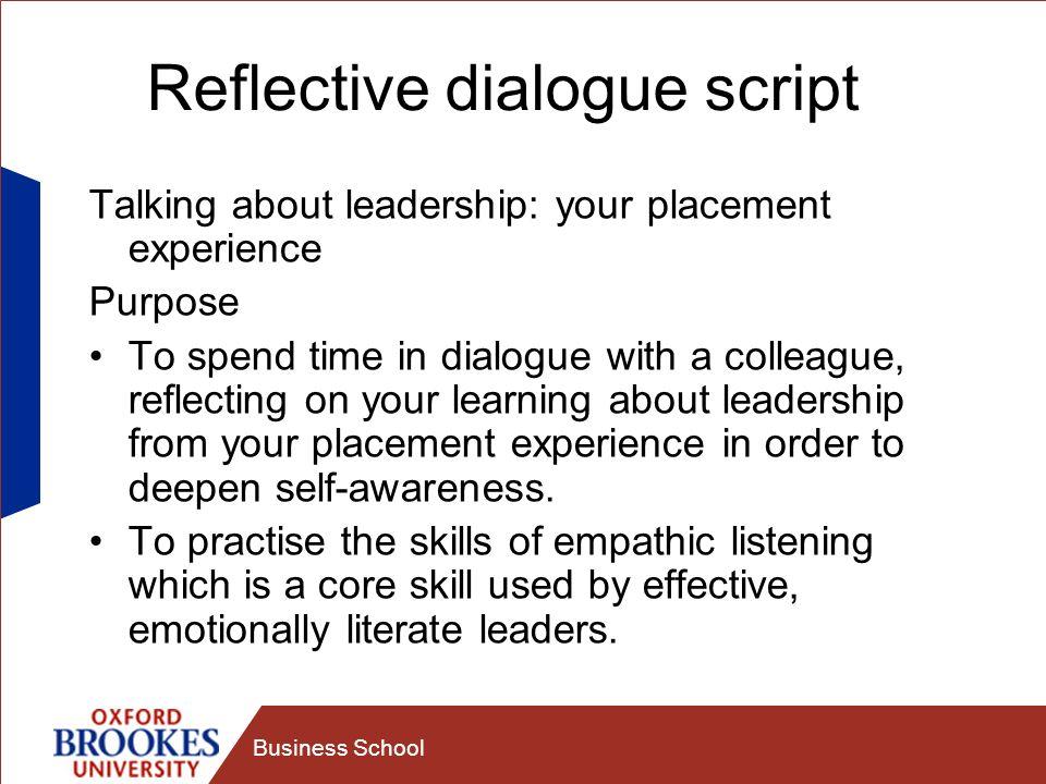 Reflective dialogue script