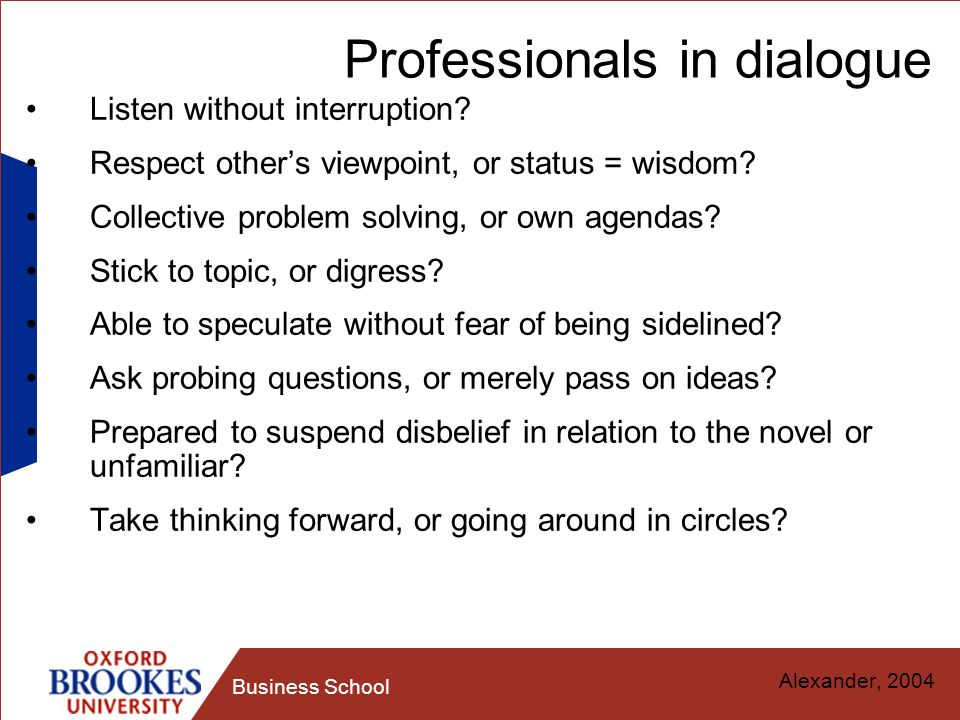 Professionals in dialogue