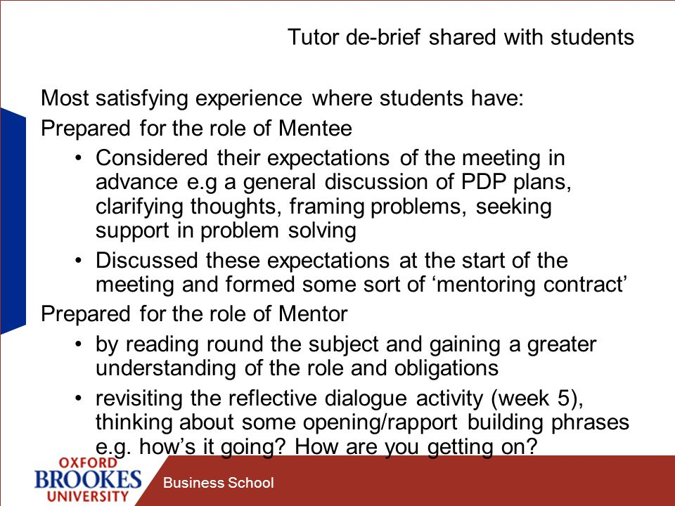 Tutor de-brief shared with students