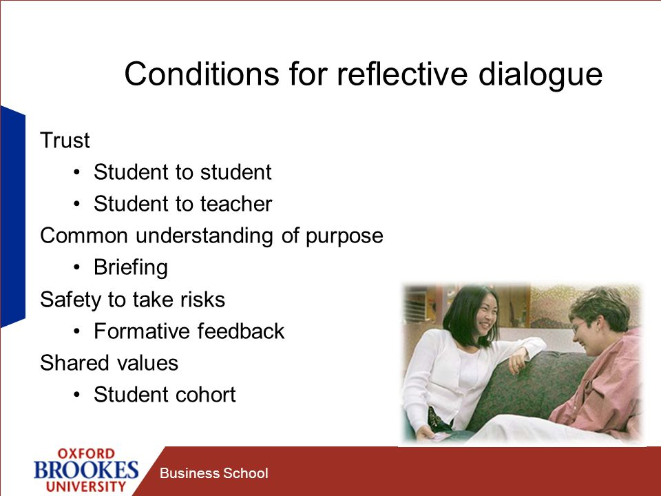Conditions for reflective dialogue