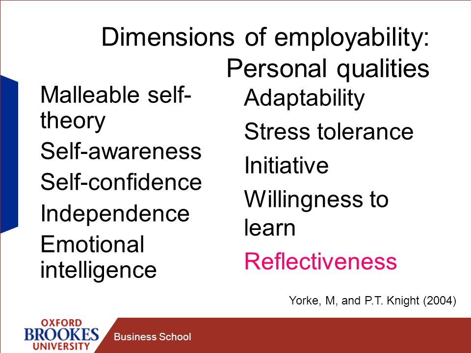 Dimensions of employability: Personal qualities