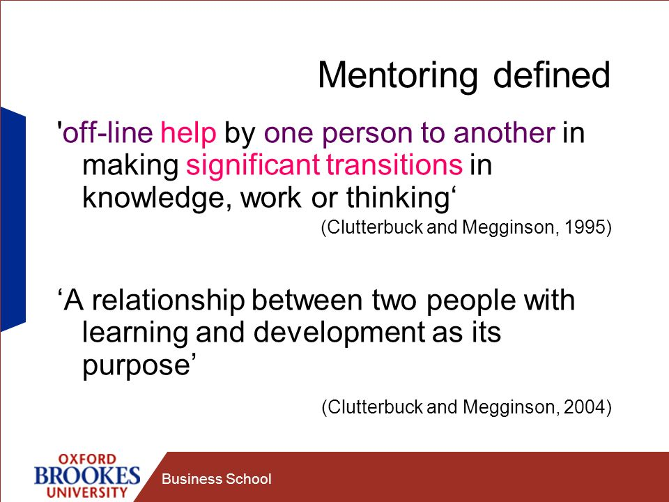 Mentoring defined off-line help by one person to another in making significant transitions in knowledge, work or thinking'