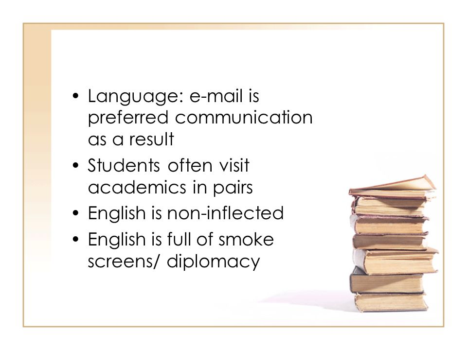 Language: e-mail is preferred communication as a result