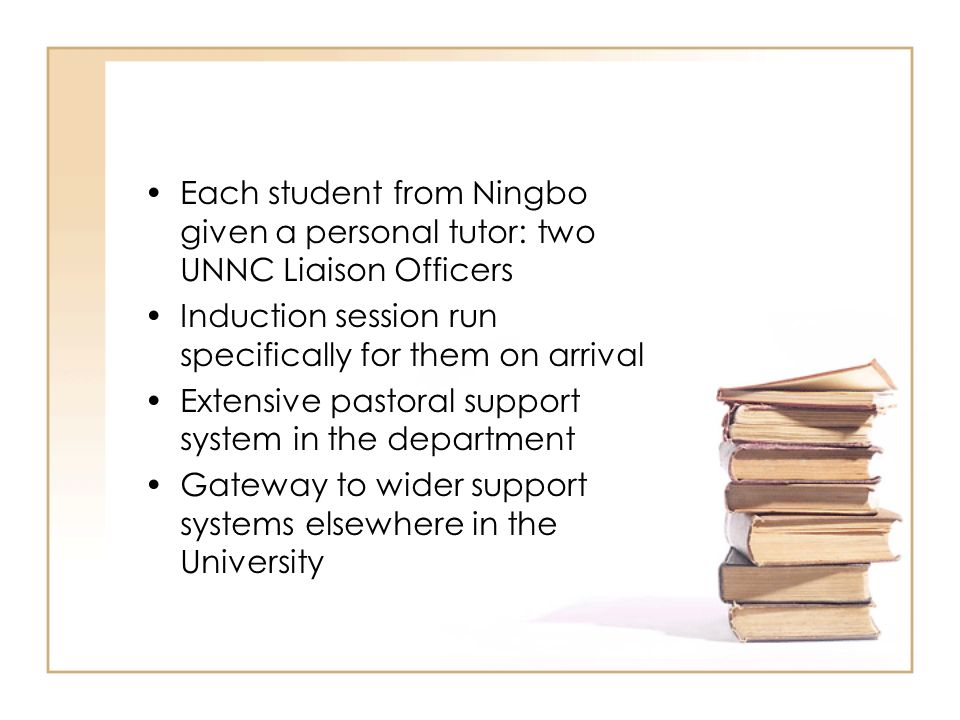 Each student from Ningbo given a personal tutor: two UNNC Liaison Officers