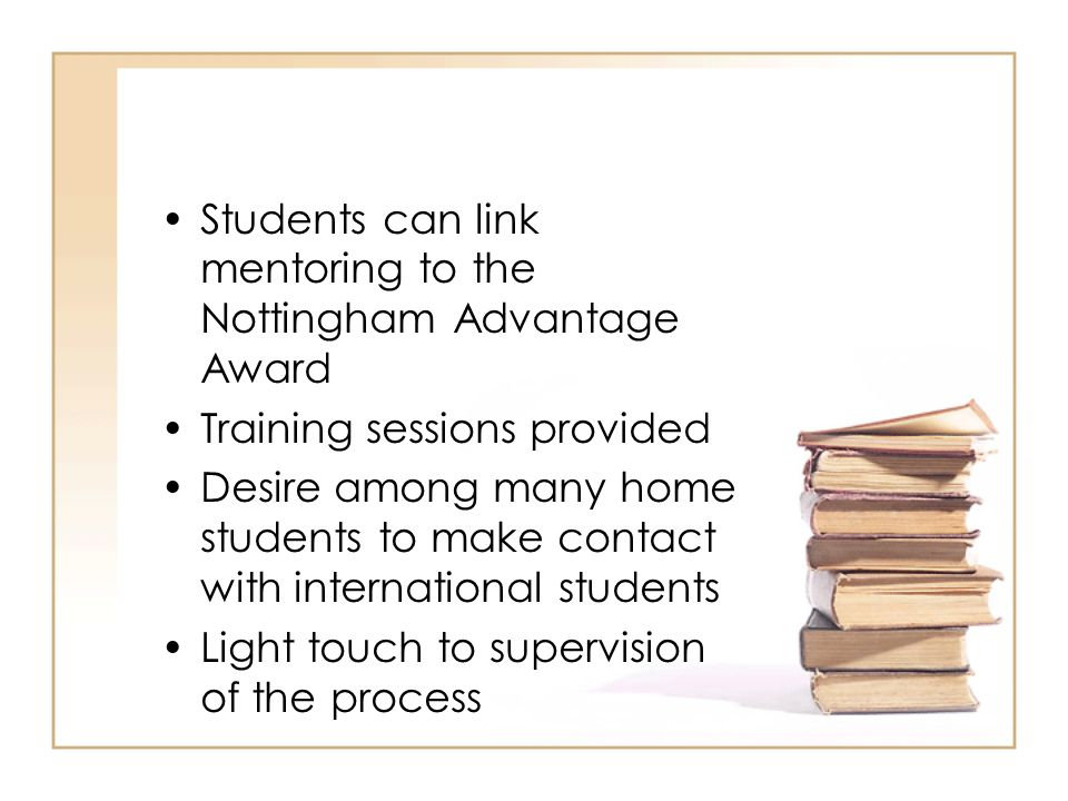 Students can link mentoring to the Nottingham Advantage Award