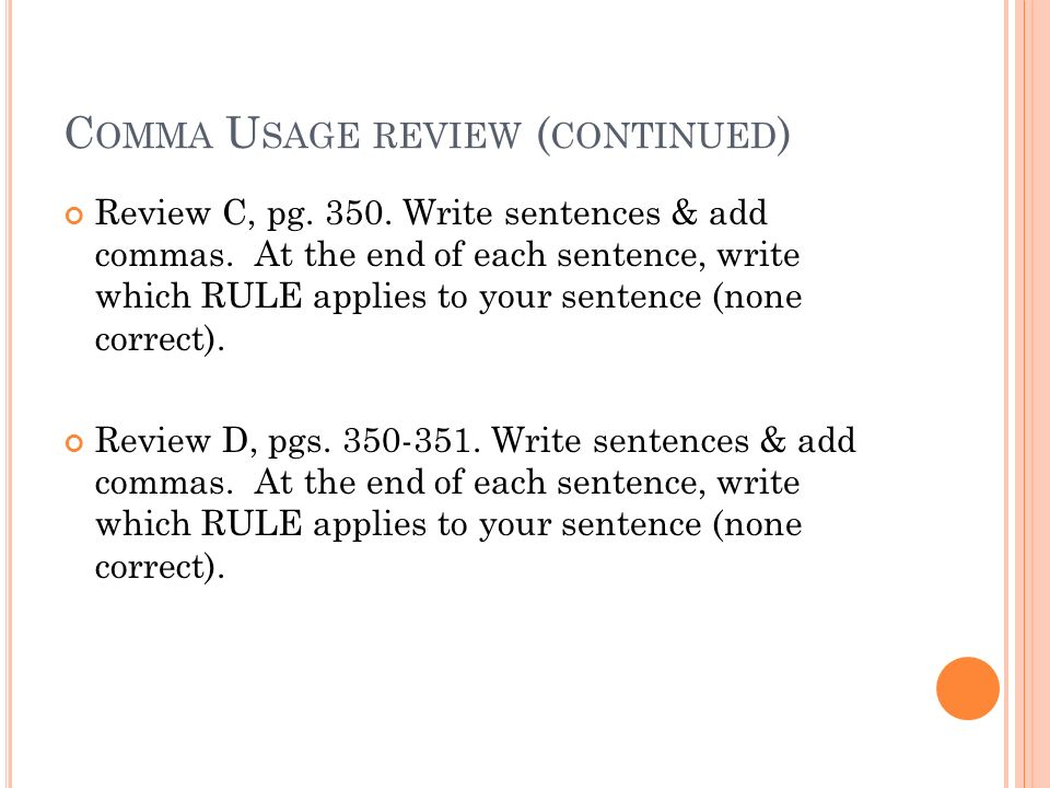 Comma usage rules Chapter ppt download