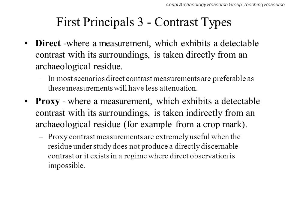 First Principals 3 - Contrast Types