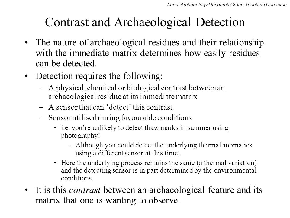 Contrast and Archaeological Detection