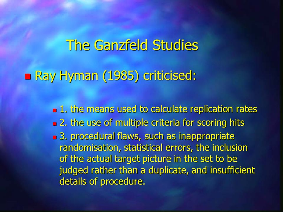 The Ganzfeld Studies Ray Hyman (1985) criticised: