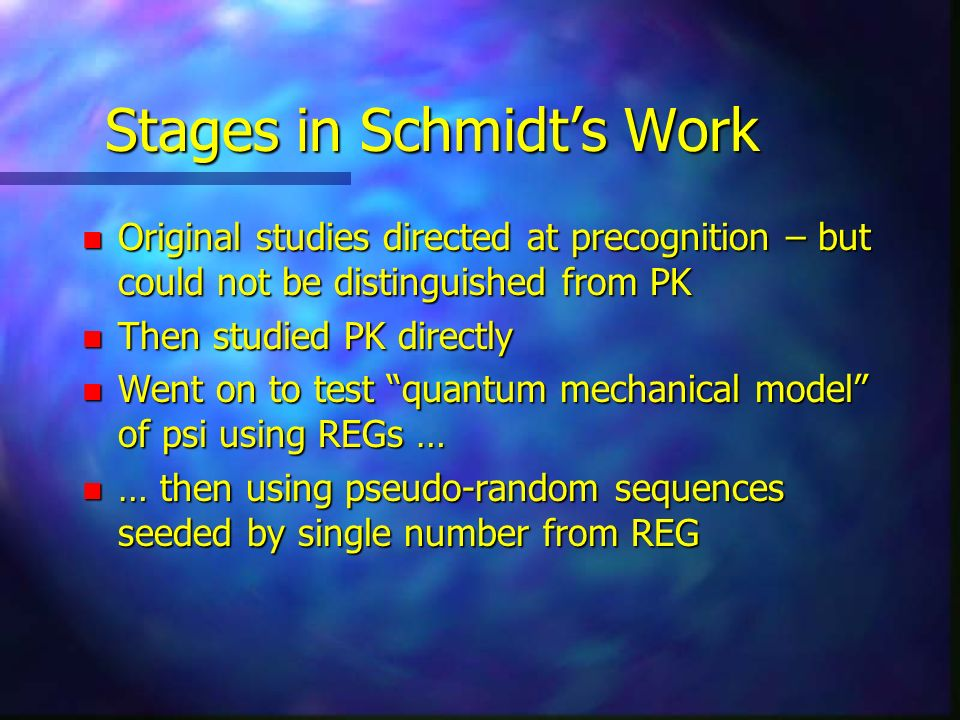 Stages in Schmidt's Work