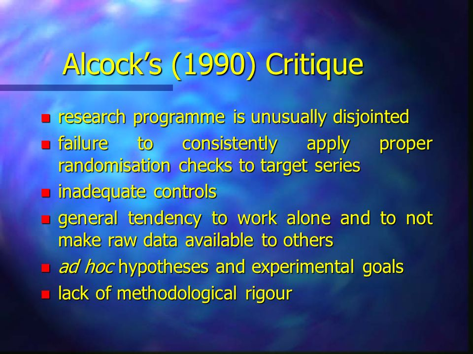 Alcock's (1990) Critique research programme is unusually disjointed