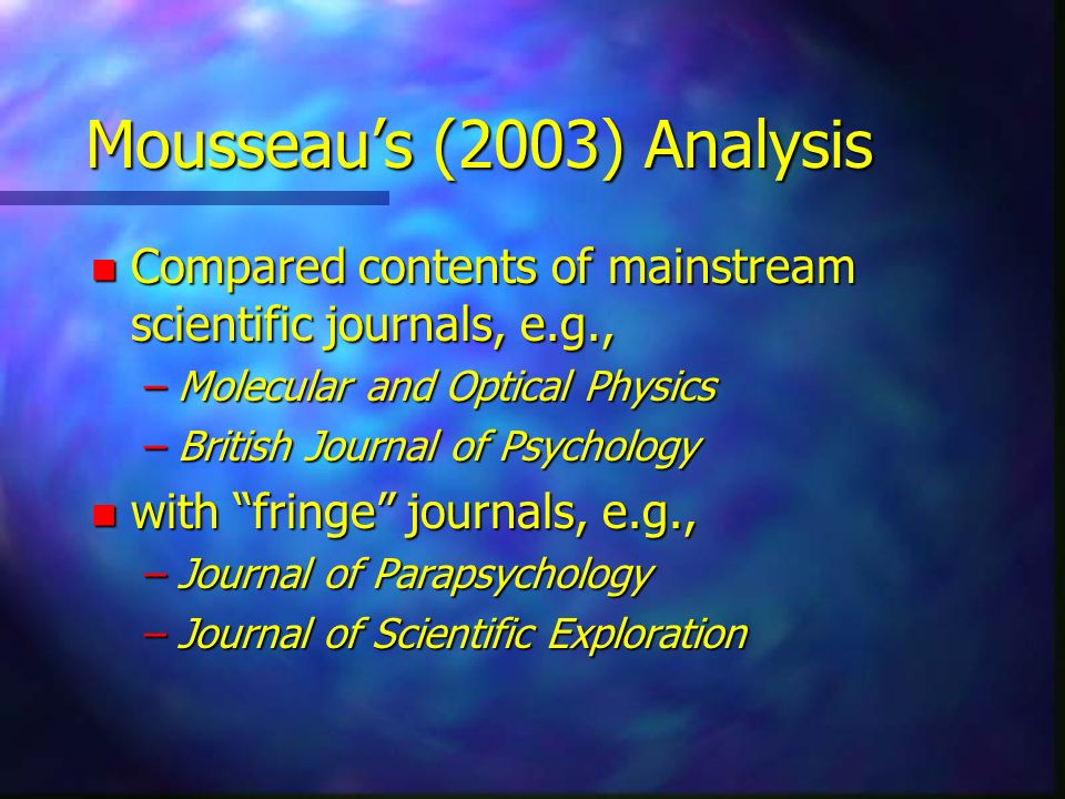 Mousseau's (2003) Analysis