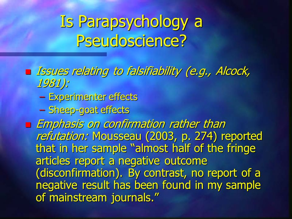 Is Parapsychology a Pseudoscience
