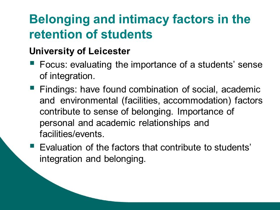 Belonging and intimacy factors in the retention of students