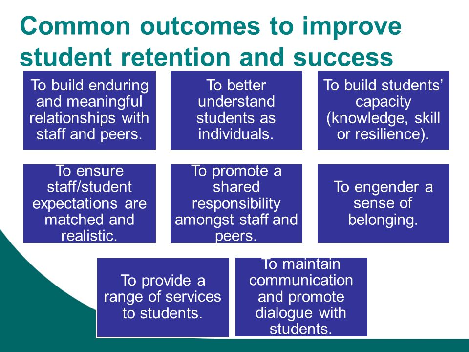 Common outcomes to improve student retention and success