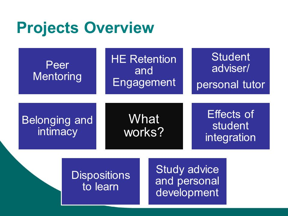 Projects Overview What works Study advice and personal development
