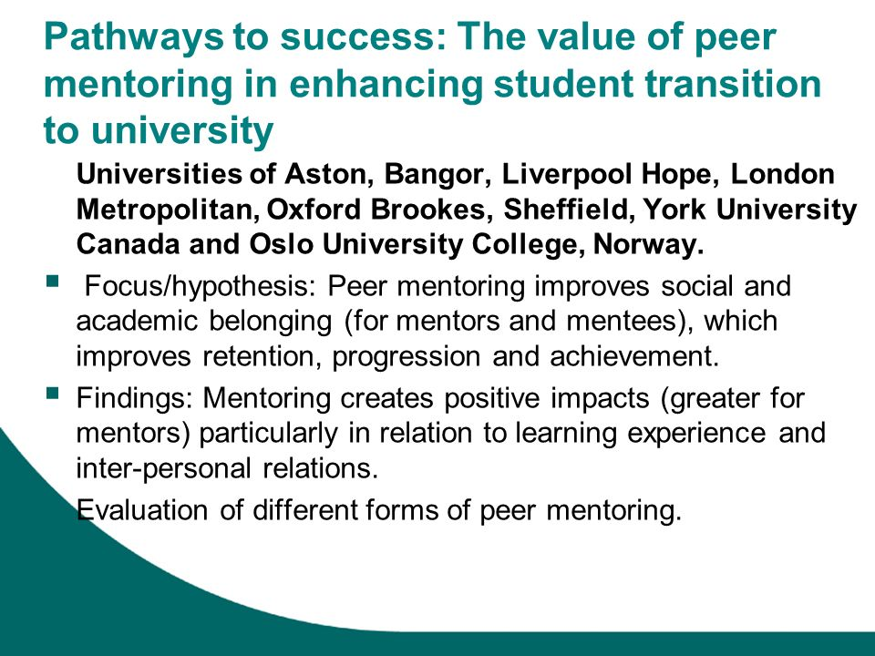 Pathways to success: The value of peer mentoring in enhancing student transition to university