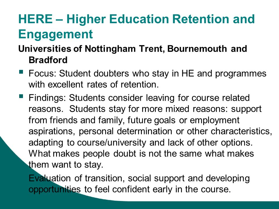 HERE – Higher Education Retention and Engagement
