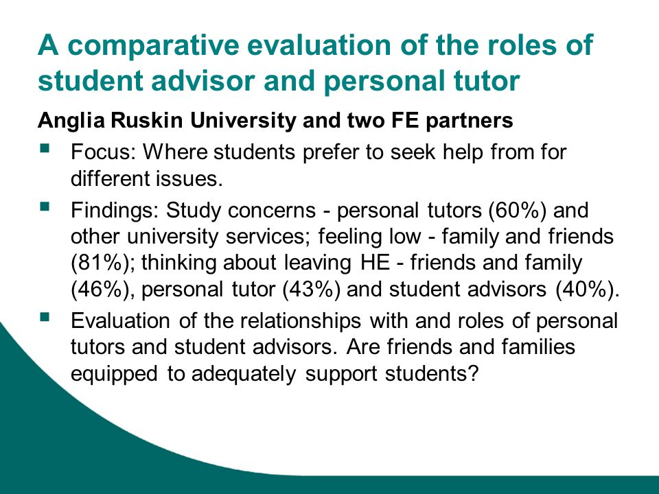 A comparative evaluation of the roles of student advisor and personal tutor