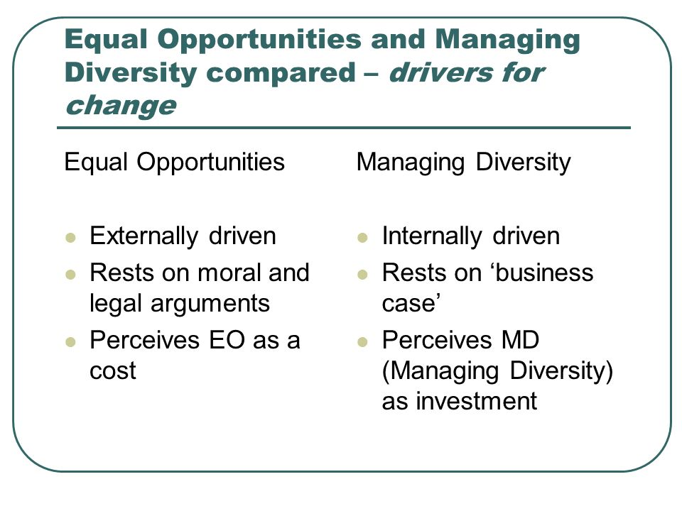 Equal Opportunities and Managing Diversity compared – drivers for change