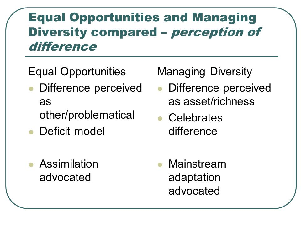 Equal Opportunities and Managing Diversity compared – perception of difference
