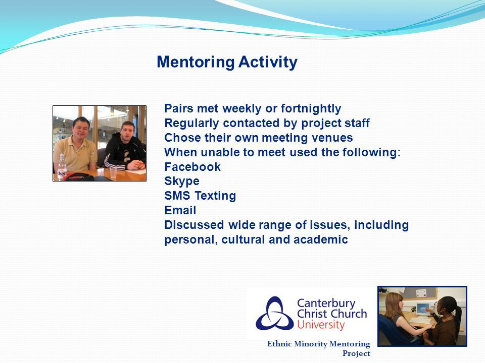 Mentoring Activity Pairs met weekly or fortnightly