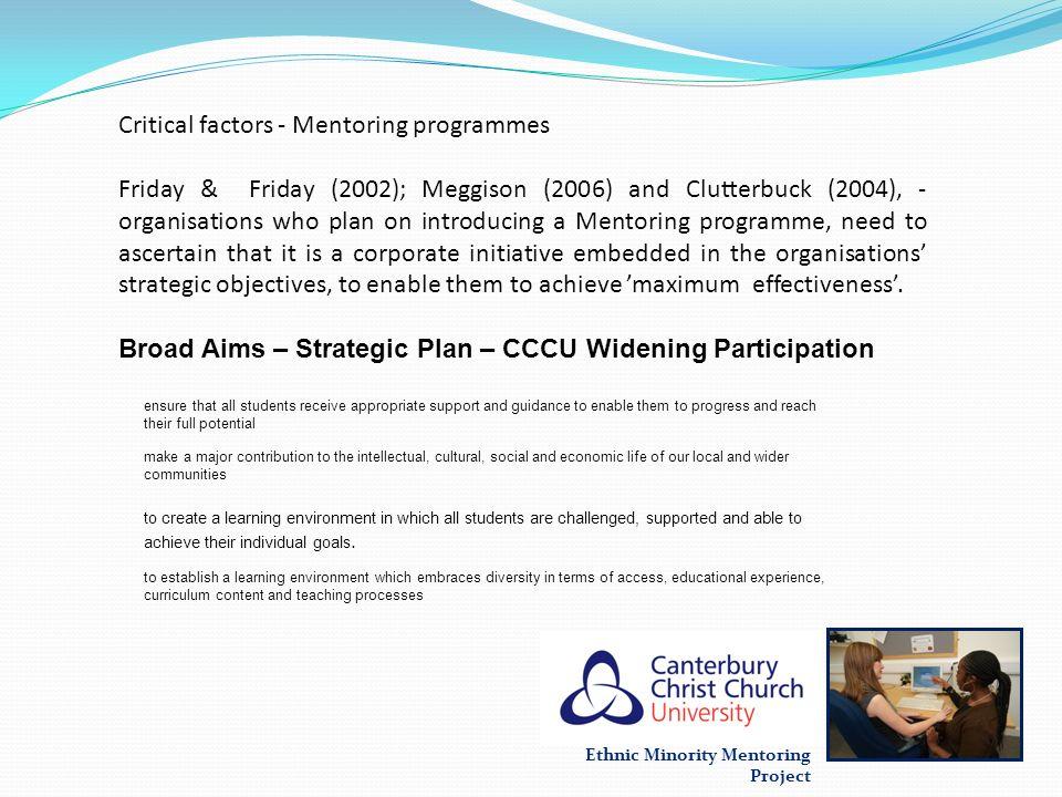 Critical factors - Mentoring programmes