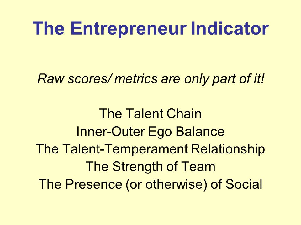 The Entrepreneur Indicator